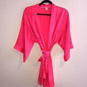 Victoria Secret Silk/satin Hot Pink Robe kimono